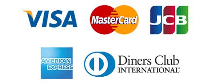 取扱可能なカード(VISA, mastercard, AMERICAN EXPRESS, UnionPay, Diners Club)